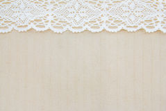 Sack fabric and white lace Royalty Free Stock Photo