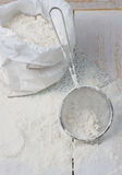 Sack with flour and sieve Royalty Free Stock Photography