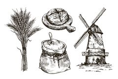 Sack of flour, windmill and fresh bakery products. homemade baking. bakery products. vector sketches on white Royalty Free Stock Photography