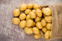 Sack of fresh raw potatoes on wooden background, top view. Sack of fresh raw potatoes on wooden background, top view Royalty Free Stock Images