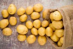 Sack of fresh raw potatoes on wooden background, top view. Sack of fresh raw potatoes on wooden background, top view Royalty Free Stock Photo