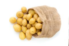 Sack of fresh raw potatoes on wooden background, top view.  Royalty Free Stock Image