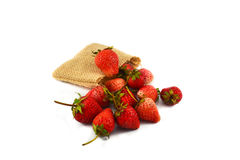 Sack of Fresh red strawberries Stock Photos