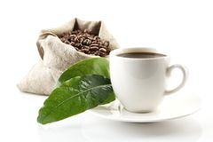 Sack full of coffee beans with green leaves and coffee cup Stock Photos