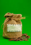 Sack full of coins Royalty Free Stock Photo
