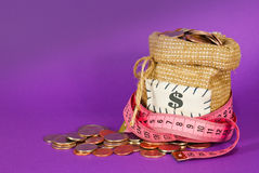 Sack full of coins Royalty Free Stock Images