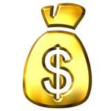 Sack full of Dollars. Isolated in white Stock Photo