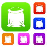Sack full of flour set collection. Sack full of flour set icon in different colors isolated vector illustration. Premium collection Royalty Free Stock Images