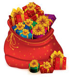 Sack full of gifts royalty free stock photo