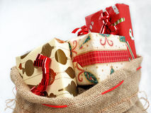 An sack full of gifts. Royalty Free Stock Photo