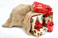 An sack full of gifts. Royalty Free Stock Images