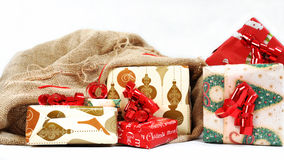 An sack full of gifts. Stock Photo