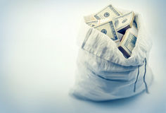 Sack full of money dollars Stock Images