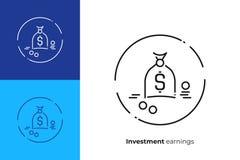 Sack full of money line art vector icons. Business profit line art icon, investition earnings vector art, outline online cash exchange illustration Stock Image