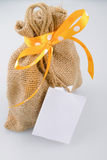 Sack gift bag with ribbon bow Stock Images