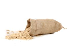Sack with grains and ear of wheat. Stock Images