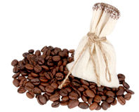 Sack with ground coffee and coffee in grains. On a white background Stock Photography