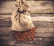 Sack of hazelnuts Stock Photography