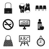Sack icons set, simple style. Sack icons set. Simple set of 9 sack vector icons for web isolated on white background Stock Image