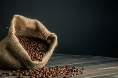 Sack Kaffeebohnen Lizenzfreies Stockfoto