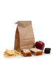 A Sack lunch with peanut butter sandwich Stock Images