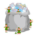 Sack with mail post to Santa Claus and elves. Big bag with lette Royalty Free Stock Photo