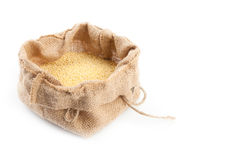 Sack With Millet Stock Photo