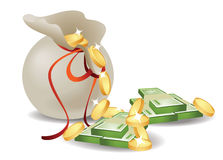 Sack with money. On white Royalty Free Stock Images