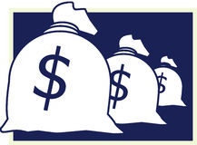 Sack with money. Three Sacks with money and money signs Royalty Free Stock Photography