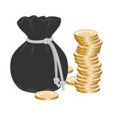 Sack with money Royalty Free Stock Photos