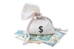 Sack and money Stock Photography