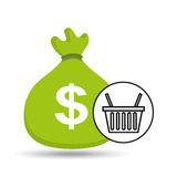 Sack money with basket shopping online Stock Photography
