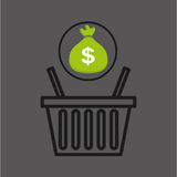 Sack money with basket shopping online Royalty Free Stock Photography