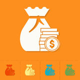 Sack with Money. Business and Finance, Single Flat Icon. Simple and Minimalistic Style. Vector Stock Image