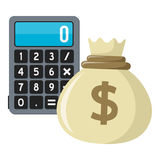 Sack of Money with Calculator Flat Icon. Small calculator with money bag flat icon, isolated on white background. Eps file available Royalty Free Stock Images
