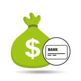 Sack money with card credit and debit bank. Vector illustration eps 10 Royalty Free Stock Image