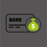 Sack money with card credit and debit bank. Vector illustration eps 10 Royalty Free Stock Photo