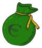 Euro money sack illustration. Isolated money bag with euro sign cartoon Royalty Free Stock Photography