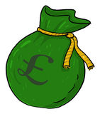 Sack of money with pound sign illustration Stock Photos