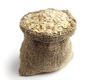 Sack with oat flakes Royalty Free Stock Photos