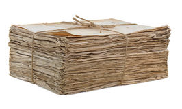 Old papers sack isolated Stock Photo