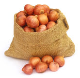 Sack with onion Royalty Free Stock Image