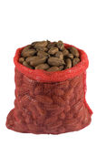 A sack of pecan nuts. Isolated on white Royalty Free Stock Photos