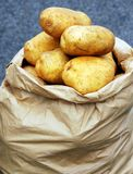 Sack of potatoes stock photo