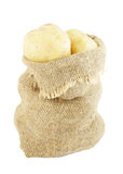 Sack of potatoes isolated Stock Image