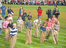 The sack race at Braemar Gathering. . Stock Photo