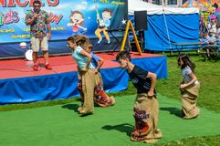 Sack Races at Nick`s Kids Show royalty free stock image