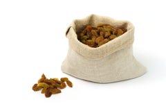 Sack with raisins Stock Image