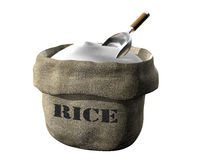 Sack of rice. Isolated illustration of an open sack containing rice Royalty Free Stock Image