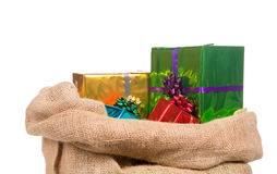 Sack of saint Nicholas with presents Stock Photos